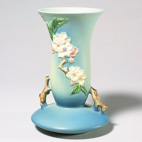 5: Roseville Apple Blossom vase, blue, 388-10