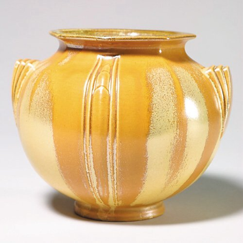18: Roseville Rusco vase, yellow crystalline,