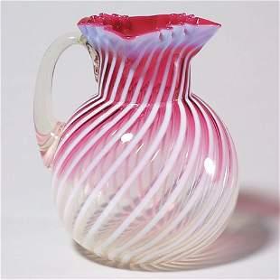 400: Rubina crystal pitcher, opales swirl, 8