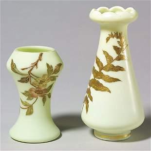 405: 2 satin vases, gold design, poss Mt Wash