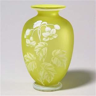 """418: English cameo vase, yel, 6 7/8""""T, nick,"""