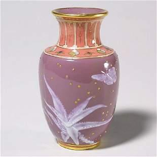 """420: Pate-sur-pate vase, mrkd Mintons, 5""""T, b"""