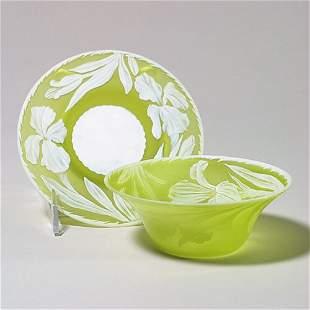 421: English cameo finger bowl/ tray, yel, pa