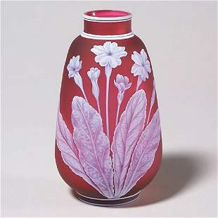 422: English cameo vase, red, butterfly, 6 3/