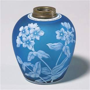 "423: Blue English cameo lamp base, phlox, 4""T"