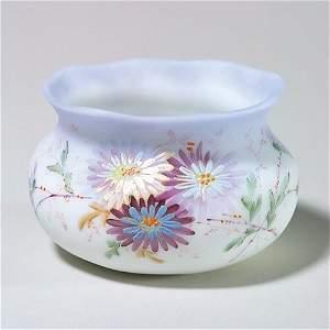 464: Mt Washington vase, blue rim, mums, 2 1/