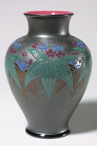 956: Rookwood French Red vase, floral, Sax, 1