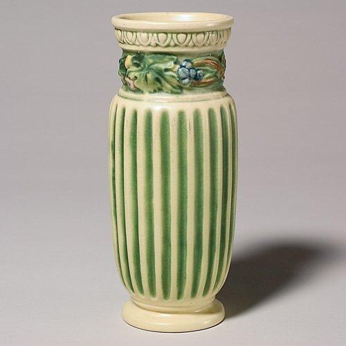 """4: Roseville Corinthian vase, 8 1/4"""", firing separation"""