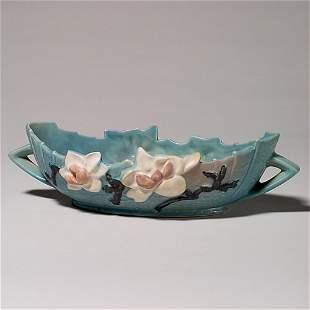 "Roseville Magnolia console bowl, blue, 449-10"""