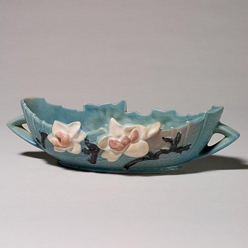 "6: Roseville Magnolia console bowl, blue, 449-10"""