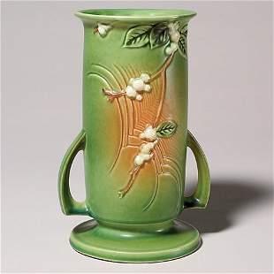 "Roseville Snowberry vase in green, shape IVI-9"""