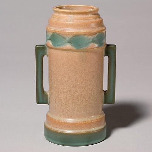 "22: Roseville Futura ""Beer Mug"" vase, shape 381-6"" chip"