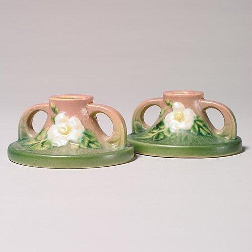"""24: Roseville White Rose candlesticks, 2"""""""