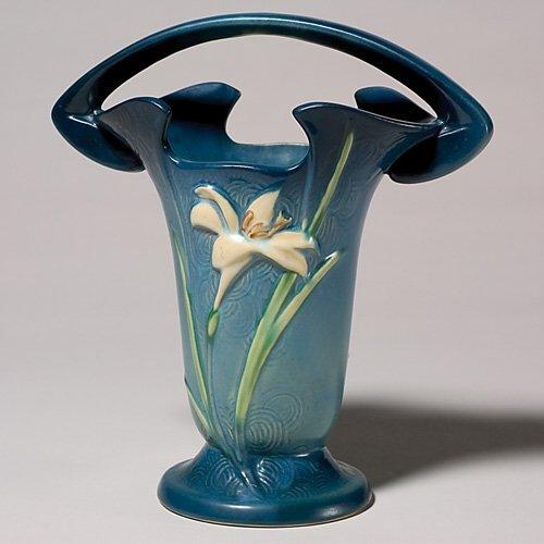 """201: Roseville Zephyr Lily basket, blue, 395-10"""""""