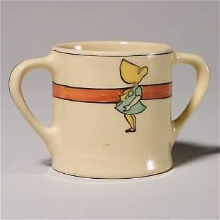 Roseville Juvenile two handled cup, sunbonnet girl