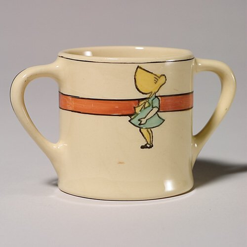 202: Roseville Juvenile two handled cup, sunbonnet girl