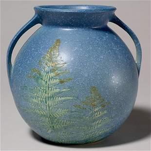 """Roseville Windsor vase in blue, shape 551-7"""", chip"""