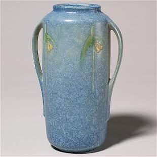 """Roseville Windsor 8 1/2"""" vase, shape 552-8"""", blue."""