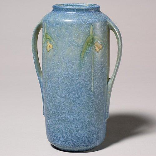 """207: Roseville Windsor 8 1/2"""" vase, shape 552-8"""", blue."""