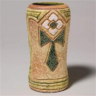 """Roseville Mostique 8"""" vase, gold"""