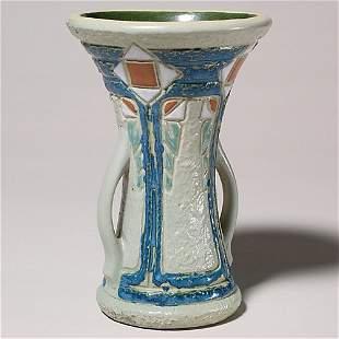 """Roseville Mostique 8 1/4"""" vase, 2"""" line at rim;"""