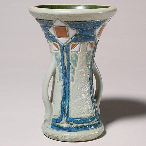 """212: Roseville Mostique 8 1/4"""" vase,  2""""  line at rim;"""