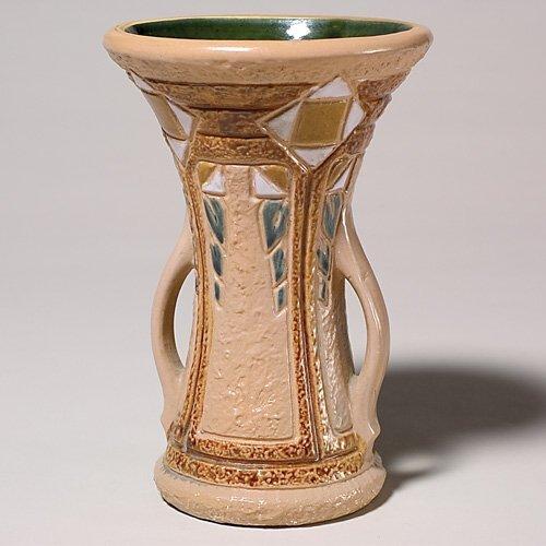 """213: Roseville Mostique 8"""" vase, brown high glaze, Huxf"""