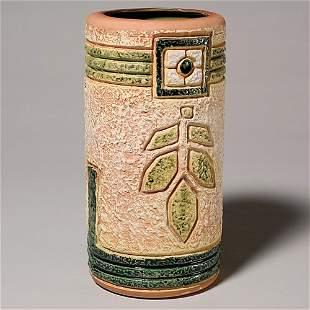 """Roseville Mostique 10"""" gold vase; pictured Huxford"""