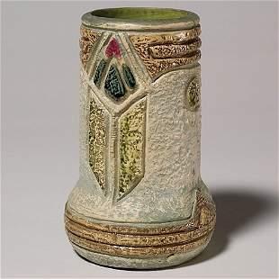 """Roseville Mostique 8"""" vase, gray, ex-Purviance Col"""