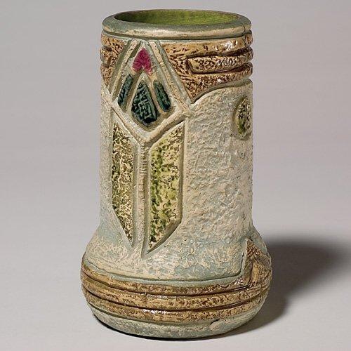 """215: Roseville Mostique 8"""" vase, gray, ex-Purviance Col"""