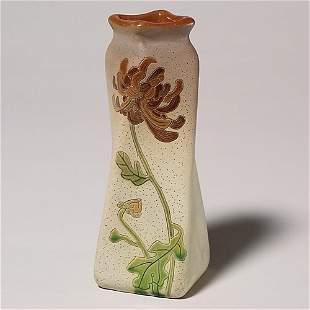 Roseville Fujiyama vase, chrysanthemums, rim repai