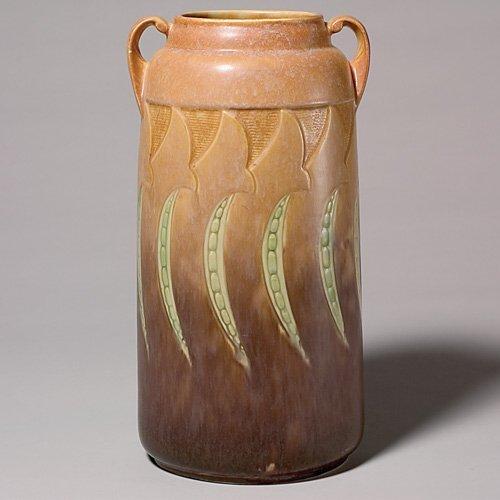 "220: Roseville Falline vase in brown, shape 654-13"""