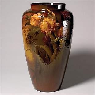 Roseville Rozane Royal Dark vase, Myers, irises, 2