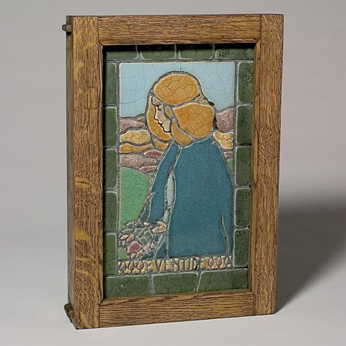 """382: Hartford Faience """"Eventide"""" tile in new frame, 13x"""