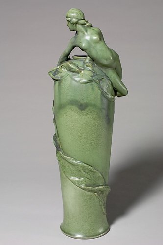 """404A: Rare Teco vase with applied nude, 22 5/8""""  repair"""