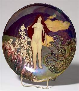 608: Rare Zsolnay charger, Eve+snakes, Abt, 1899, 14 3/