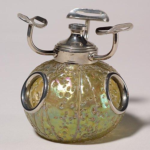 "703: Austrian perfume burner, ""oil spots"", golden, silv"