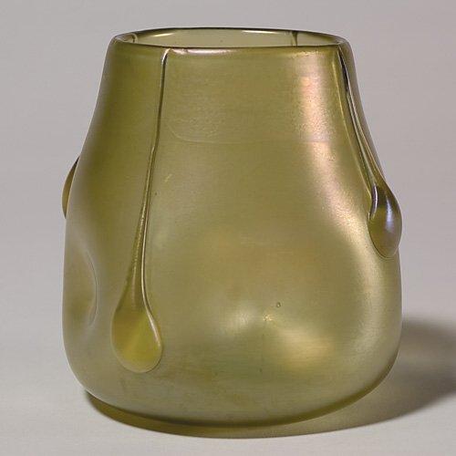 """705: Loetz vase with applied teardrops, 4 7/8"""""""
