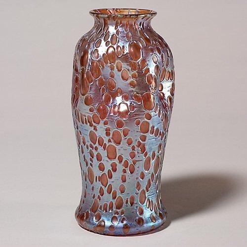 """706: Loetz vase, Diaspora, gold, 9 1/2"""""""