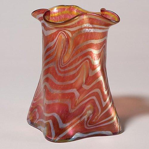 "707: Loetz vase, red, gold, ruffled rim, 8 1/8"", bubble"