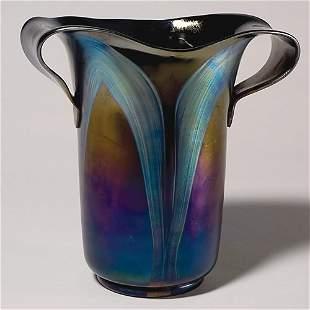 """Loetz vase, 2 pulled handles, decorated,10 3/8"""""""