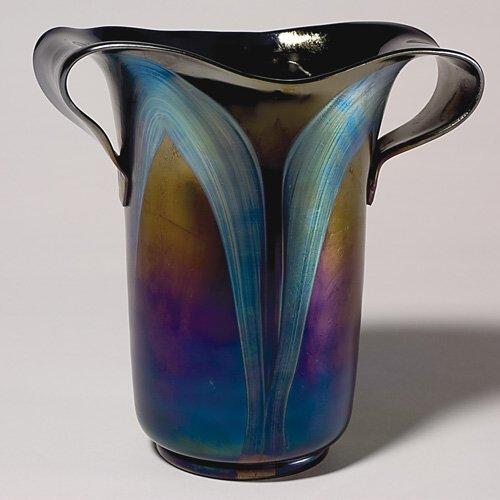 """710: Loetz vase, 2 pulled handles, decorated,10 3/8"""""""