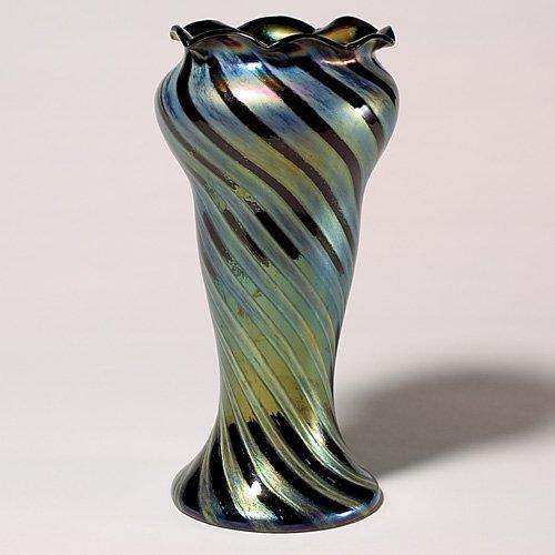 """712: Rindskopf vase, matte & glossy spirals, 13 1/4"""","""