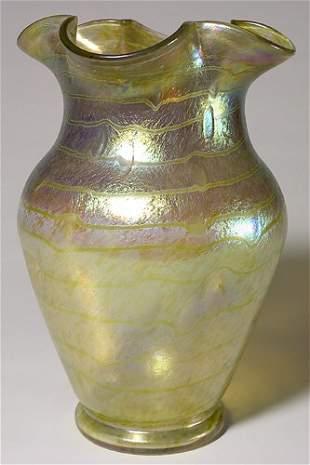 """Massive Loetz vase, bands of color, 15"""""""