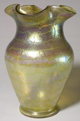 """713: Massive Loetz vase, bands of color, 15"""""""
