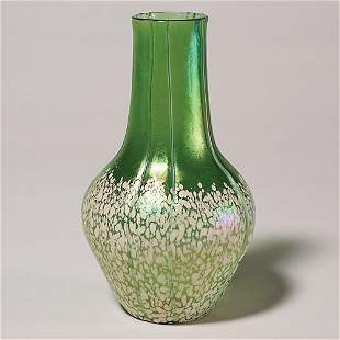 """Loetz attributed vase, green, specks, threads, 8"""""""