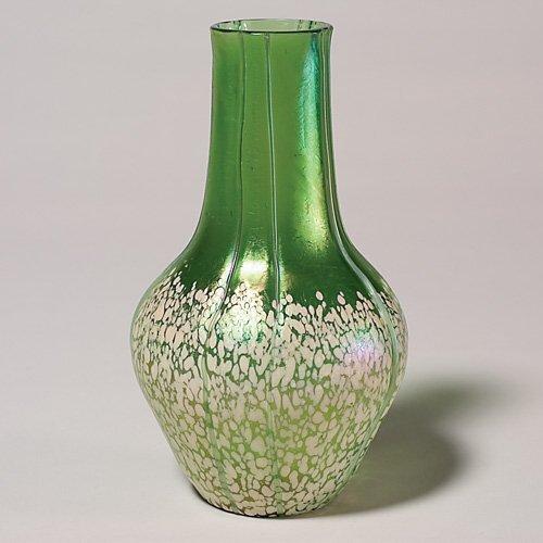"""718: Loetz attributed vase, green, specks, threads, 8"""""""