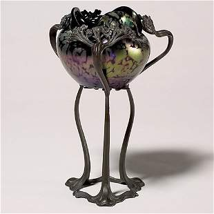"""Rindskopf vase,""""oil spots"""" in Art Nouveau mount, 8"""