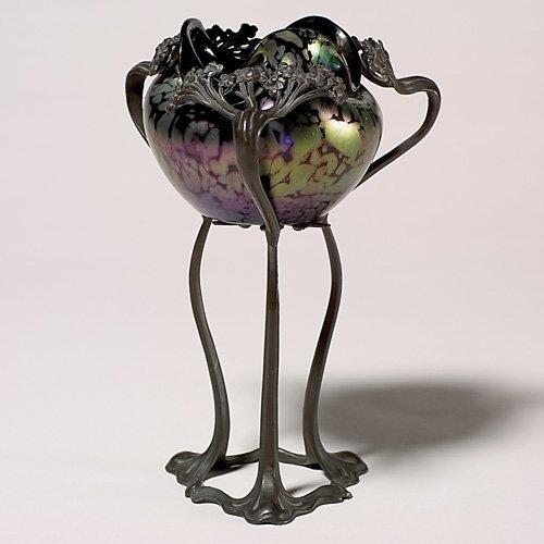 """720: Rindskopf vase,""""oil spots"""" in Art Nouveau mount, 8"""