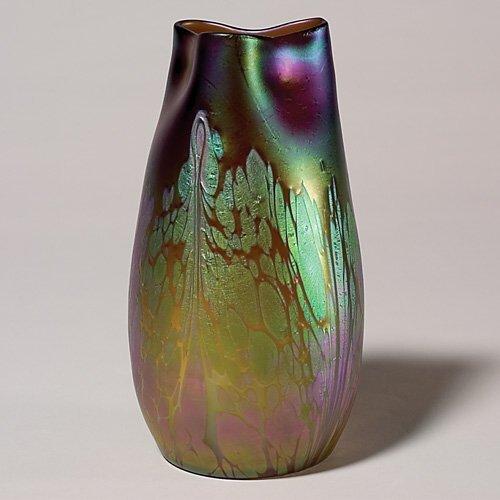 "721: Loetz Medici Phanomen ""oil spot"" vase, tri-con rim"
